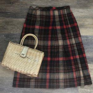 Vintage Bobbie Brooks plaid wool skirt 13/14